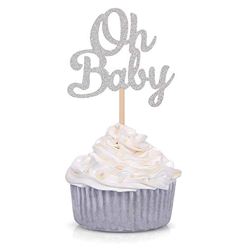 Silver Baby Shower Decorations (Giuffi 24 CT Silver Oh Baby Cupcake Toppers Party Decors Baby's Birthday Party)