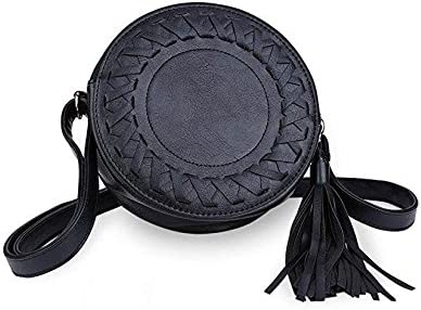 1c8d148b1e Kingken Mode Mini Rond Tassel Petit Sac de Sacs à Main bandoulière avec  bandoulière pour Femme (Noir)