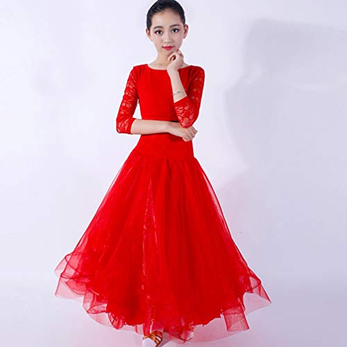 En Nationales Tango Enfants Moderne Manches De Dentelle Valse Costume Compétition Performance Danse Wqwlf Red Pour Dancewear xxl Fille Robes Salon q4cSvpw