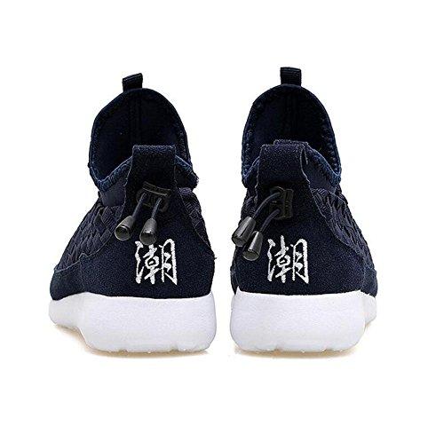 SHIXR Chaussures De Sport Chaussures De Couple Modèles Tissé Chaussures Casual Hommes Et Femmes Avec Le Même Ensemble De Chaussures Chaussures De Course Noir Bleu Gris , black , 35