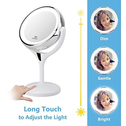 KEDSUM 7.9 Inch Double Sided 1X/10X LED Lighted Makeup Mirror, Dimmable Tabletop Vanity Mirror, Travel Magnifying Mirror with Lights, Touch Button & Dual Power Supply