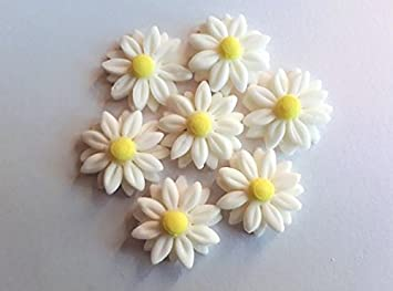 Pretty White Edible Daisy Sugar Flowers Cake Toppers Pk 18 Spring Summer Birthdays Weddings Engagements Anniversaries Cupcakes Cake Pops