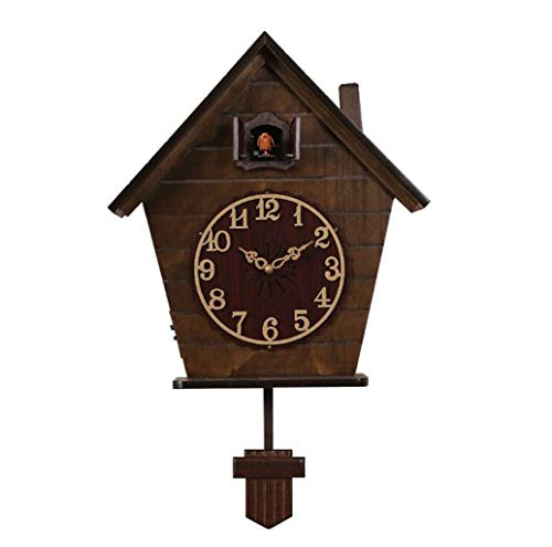 JSHFD Cuckoo Clock Light Control Induction Can Automatically Stop The Timekeeping Quartz Wall Clock Swing Movable Bird Suitable for Family Kitchen