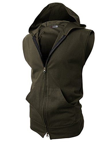 H2H Mens Sleeveless Fashion Hoodies Zip-up with Pocket KHAKI GREEN Asia M (JPSK13_N25)