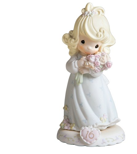Precious Moments,  Growing In Grace, Age 16, Bisque Porcelain Figurine, Blonde Girl, 136263
