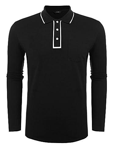 Coofandy Men's Polo Shirt Long Sleeve Casual Shirts,XX-Large,Black
