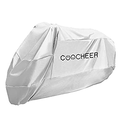 COOCHEER Waterproof Motorcycle Cover, Double Breathable Polyester,UV Resistant,Washable,Quick Dry,Fadeproof ,Fits for Harley Davison,Yamaha,BMW,Honda and Other Motors, Silver