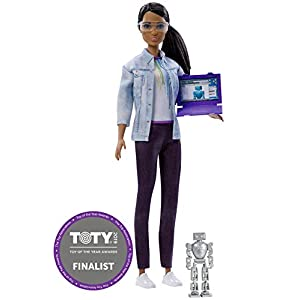 Barbie Doll Robotics Engineer - 2018 Career of the Year - Brown Hair, Brown Eyes, African American - Includes Pretend Robot and Computer