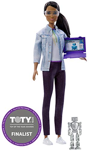 Barbie Doll Robotics Engineer - 2018 Career of the Year - Brown Hair, Brown Eyes, African American - Includes Pretend Robot and Computer (Star Girl Code Doll American)