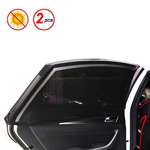 X spirit Car Window Shades for Baby & Pets, New Elastic Material, Slip On Style, Removable, 2 Pcs for Rear Windows. Block The Sunlight. Universal Fit for Most Vehicles. (Universal-2Pack)