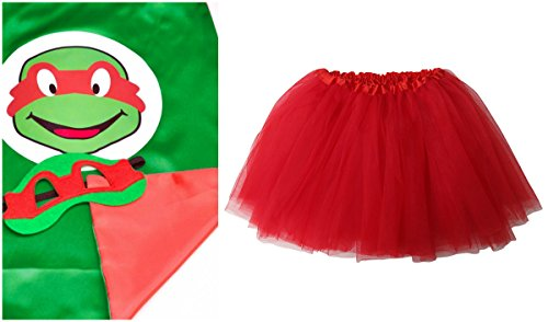 Superhero or Princess TUTU, CAPE, & MASK SET COMPLETE COSTUME - Kids Childrens Halloween (TMNT - Raphael Red (Ninja Turtles Costume For Women)