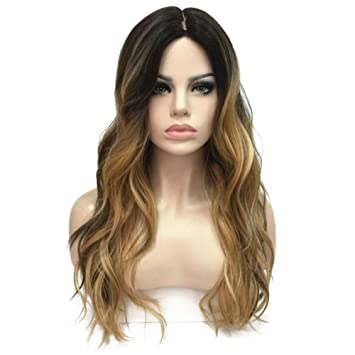 Amazon sexy lace front wigs long wavy ombre wigs for women sexy lace front wigs long wavy ombre wigs for women blonde highlights synthetic hair wigs with pmusecretfo Choice Image