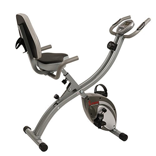 Sunny Health & Fitness Folding Exercise Bike with Magnetic Semi Recumbent Upright High Weight Capacity and Pulse Monitoring - SF-B2721 Comfort XL by Sunny Health & Fitness