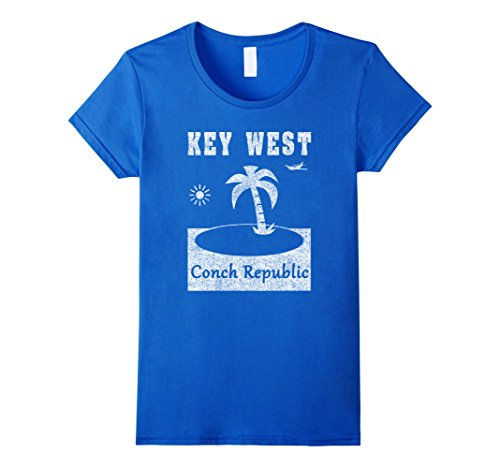Womens Key West Florida Vacation Distressed Look T-Shirt Medium Royal - Key West Women