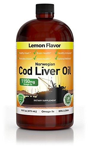 Norwegian Cod Liver Oil, Lemon Flavored, 1150 mg - 16oz
