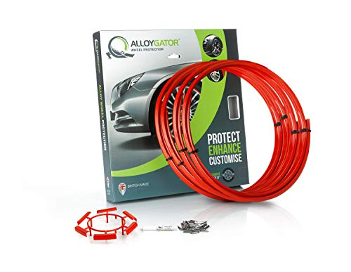Alloygator Alloy Wheel Protection (MADE IN BRITAIN) Rim Protector Complete Set of 4 RED COLOR Excellent Fitment (FITS 13