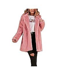HGWXX7 Women's Winter Warm Solid Faux Fur Oversize Long Coat Jackets Parka Outerwear