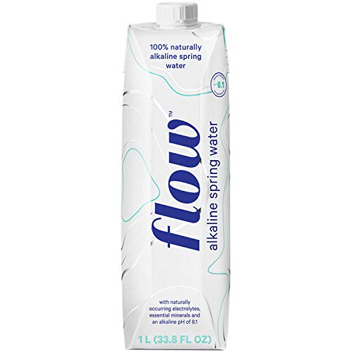 (Flow Alkaline Spring Water, 100% Natural Alkaline Water, Eco-Friendly Packaging, Refreshing Taste, Boxed Mineral Water, Natural Electrolytes, Water with pH, Non-GMO, BPA-Free, Pack of 6 x 1L)