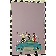 (12) Girls in Retro Convertible Blank Single Panel Cards With Zebra Stripe - White Envelopes Printer Compatible