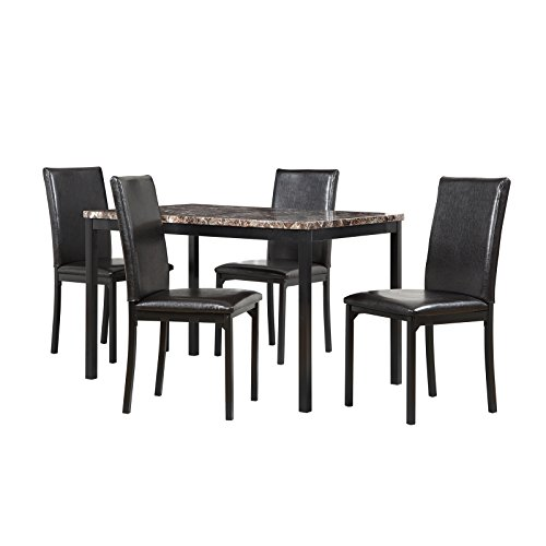 Bedford 5-Piece Faux Marble Metal Dining Set in Black