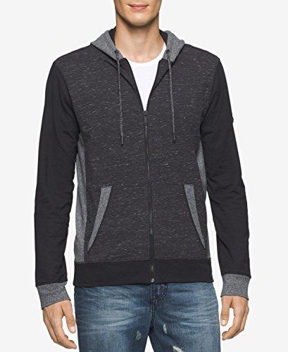 Calvin Klein Jeans Men's Texture Blocked Hoodie, Black, Small by Calvin Klein