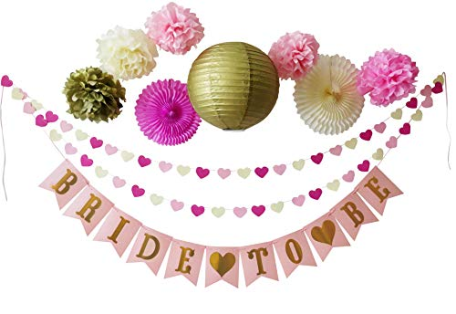Bridal Shower Bachelorette Party Decorations in Gold, Pink, Dark Pink and Cream | Set Includes Bride to Be Banner, Heart Garland, Lantern, Paper Fan Rosettes, and Tissue Paper Pom-Poms