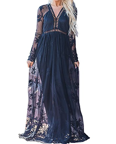 Imily Bela Women's Vintage Chiffon Long Sleeve Wedding Bridesmaid Summer Beach Maxi Long Dress (Large, Z-Black) Bridesmaid Womens Long Sleeve