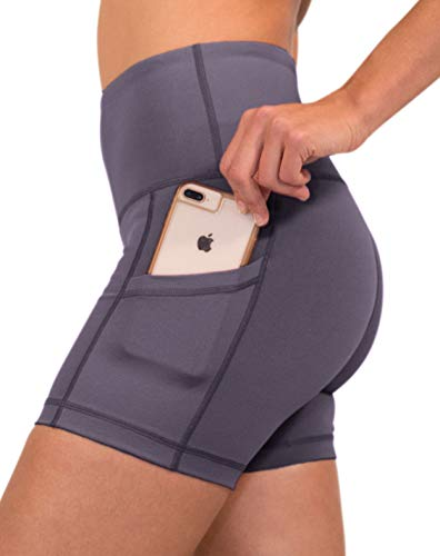 90 Degree By Reflex - High Waist Power Flex Yoga Shorts with Side Pocket - Twilight Mauve - Small