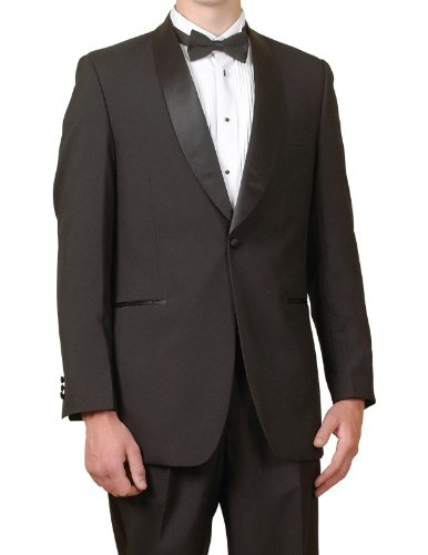 New Men's 1 Button Black Shawl Collar Tuxedo - Shawl 1 Button