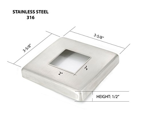 Steel Pipe Railing (Stainless Steel 316 Small Base Flange Square Cover for 2