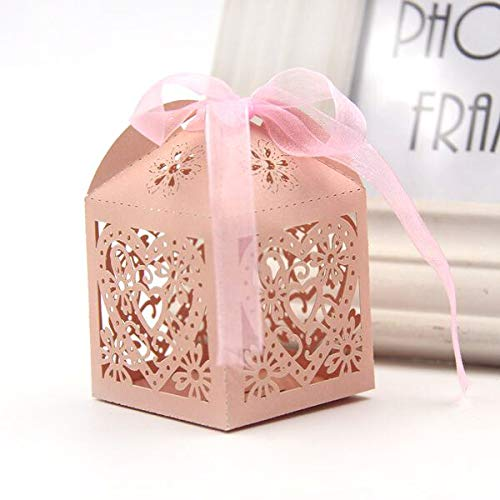 Laz Tipa - 10PCS Hollow Love Heart Candy Boxes Candy Bags Favor Ribbon Carriage Baby Shower Wedding Party Decoration Supplies Kids Gifts