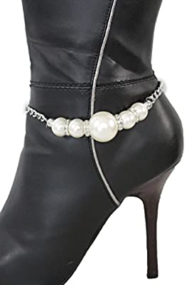 TFJ Women Boot Round Ball Cream Pearl Charm Bracelet Beads Metal Chain High Heels Shoe Silver