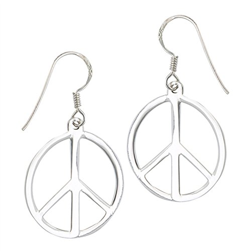 High Polish Peace Sign Hippie Symbol .925 Sterling Silver Simple Dangle Earrings