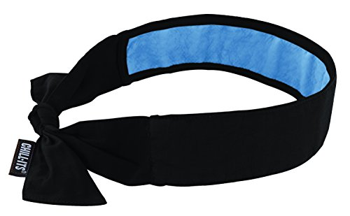 Ergodyne Chill-Its 6700CT Evaporative Cooling Bandana - Tie Closure, Black Tie Bandana Neck