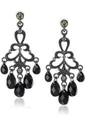 1928 Jewelry Jet and Black Crystal Chandelier Earrings