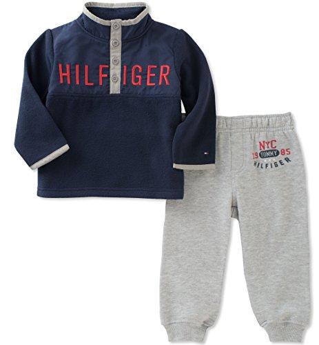 Tommy Hilfiger Boys' Fleece Pant Set, Navy/Grey, 3T