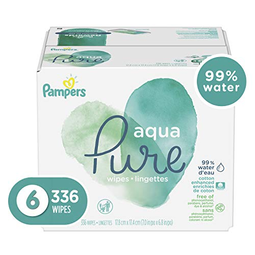 (Pampers Aqua Pure 6X Pop-Top Sensitive Water Baby Wipes - 336 Count )