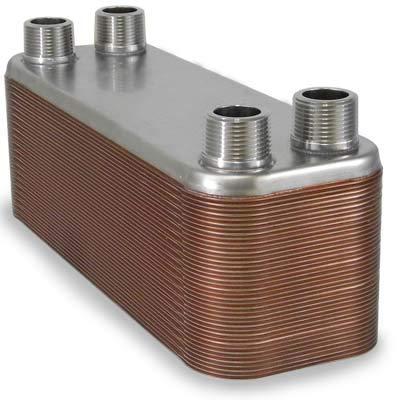 60-plate Brazed Plate Heat Exchanger, 1'' MNPT ports by Brazetek