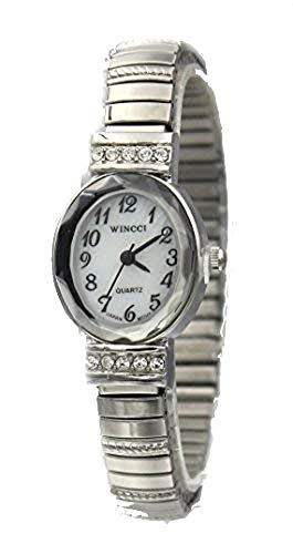 Ladies Silver Tone Dainty Stretch Band Oval Case Watch with Crystal Accent