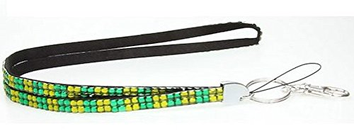Checker Olivine & Green Rhinestone Crystal Lanyard ID Badge Key Card (Olivine Rhinestone)
