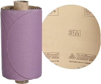 "3M Stikit Paper Disc Roll 735U, PSA Attachment, Ceramic Aluminum Oxide, 5"" Diameter, P220 Grit (Roll of 100)"