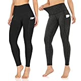 ODODOS Women's High Waisted Yoga Pants with Pocket, Workout Sports Running Athletic Pants with Pocket, Full-Length, Plus Size, BlackSpaceDyeCharcoal2Pack,XX-Large