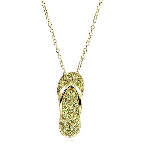 (Yellow Gold Flashed Sterling Silver Simulated Peridot Flip-Flop Beach Sandal Necklace)