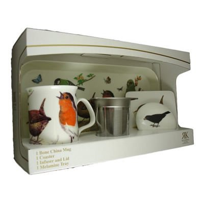 Roy Kirkham Garden Birds Mug Infuser Coaster Set ()
