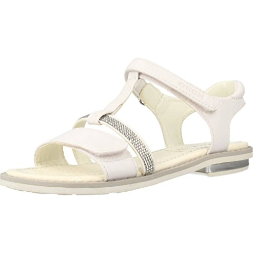 Geox Girls' Jr Giglio B T-Bar Sandals White