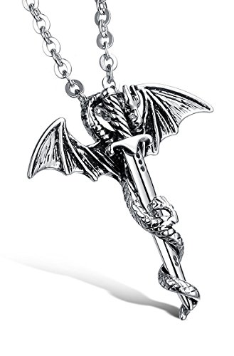 Godyce Dragon Sword Pendant Necklace Stainless Steel Men Vintage Jewelry