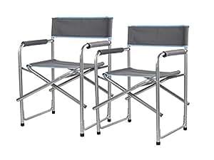 Juego de 2Silla de director plegable, altura del asiento 45cm, soporta hasta 100kg, peso 4kg; CAMPART Travel CH de 0535