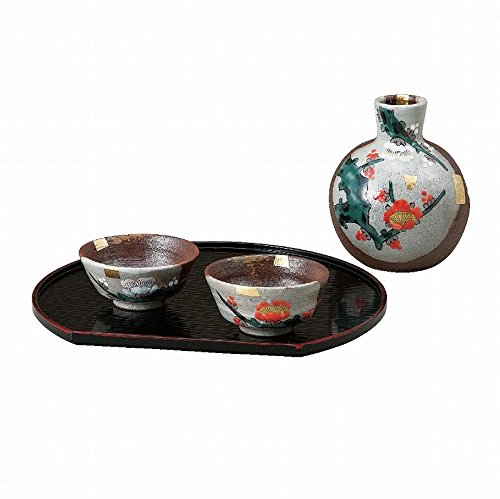 Jpanese traditional ceramic Kutani ware. Sake Tokkuri bottle and sake cups. Sake set. Red and white plum. With paper box. ktn-K5-1185