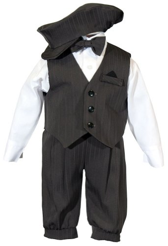 Toddler Boys Knicker Set with Vest and Hat - Vintage Grey Stripe 4T Performance Suit Vest