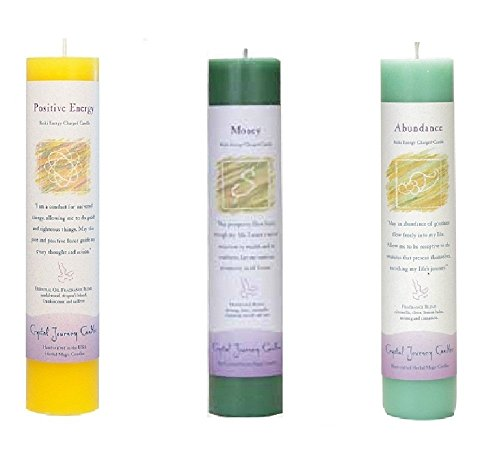 Crystal Journey Reiki Charged Herbal Magic Pillar Candle Wealth and Health Bundle (Positive Energy, Money, (Prosperity Candle)